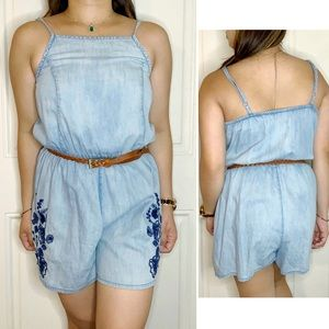 •Mossimo• Denim Floral Embroidered Romper